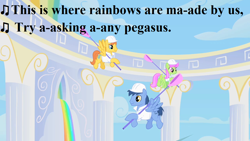 Size: 1280x720 | Tagged: safe, edit, edited screencap, screencap, blues, merry may, noteworthy, warm front, pegasus, sonic rainboom (episode), clothes, cloudsdale, g3, g3 to g4, generation leap, greetings from unicornia, lyrics, pegasus noteworthy, race swap, rainbow, song reference, text, uniform, weather factory, wish you were here (song)