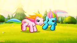 Size: 1246x701 | Tagged: safe, screencap, rainbow dash (g3), rarity (g3), cute, g3, g3 dashabetes, g3 raribetes, greetings from unicornia, wish you were here (song)