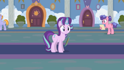 Size: 1246x701 | Tagged: safe, artist:agrol, auburn vision, berry bliss, starlight glimmer, headmare of the school, blissabetes, clipboard, cute, friendship student, glimmerbetes, magic, magic aura, school of friendship, youtube source
