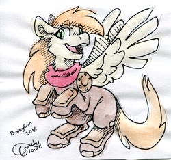 Size: 1503x1409 | Tagged: safe, artist:crunchycrowe, oc, oc only, oc:bracer, pegasus, armor, commission, cute, emw:mmmm, leather armor, pegasus oc, rearing, solo, spread wings, traditional art, watercolor painting, wings