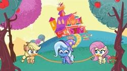 Size: 1669x933 | Tagged: safe, screencap, applejack, fluttershy, trixie, earth pony, pegasus, pony, unicorn, friendship gems, my little pony: pony life, spoiler:pony life s01e17, female, jump rope, mare, mouth hold, sweet apple acres