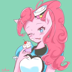 Size: 2048x2048 | Tagged: safe, artist:moh_mlp2, pinkie pie, anthro, coinky-dink world, eqg summertime shorts, equestria girls, apron, blushing, bust, clothes, cupcake, cute, diapinkes, digital art, dress, food, green background, hat, one eye closed, pony ears, ponytail, simple background, solo, tongue out, wink