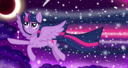 Size: 1500x800 | Tagged: safe, artist:katya, twilight sparkle, alicorn, pony, cloud, eclipse, ethereal mane, female, flying, mare, moon, shooting star, sky, solo, starry mane, stars, sun