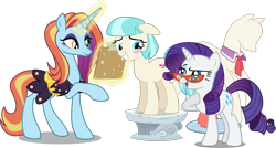 Size: 4129x2208 | Tagged: safe, artist:8-notes, artist:dashiesparkle, artist:koolfrood, artist:lahirien, artist:sircxyrtyx, artist:sketchmcreations, artist:vector-brony, edit, editor:slayerbvc, vector edit, coco pommel, rarity, sassy saddles, earth pony, unicorn, accessory-less edit, blushing, clipboard, clothes, cocobetes, collar, cute, female, floppy ears, glasses, looking back, looking down, looking up, magic, mare, missing accessory, model, modeling, pedestal, ponyquin, raised hoof, rarity's glasses, saddle, scarf, sheepish grin, simple background, tack, telekinesis, transparent background, vector