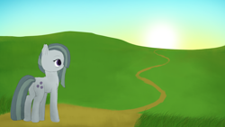 Size: 3840x2160 | Tagged: safe, artist:astralr, marble pie, earth pony, pony, female, mare, path, solo