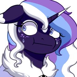 Size: 2289x2289 | Tagged: safe, artist:lady--banshee, oc, oc:frosty lavender, unicorn, :t, emotes, funny, nervous, purple, solo