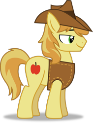 Size: 5049x6668 | Tagged: safe, artist:frownfactory, braeburn, earth pony, over a barrel, .svg available, clothes, hat, male, simple background, solo, stallion, svg, transparent background, vector, vest