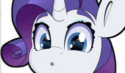 Size: 1450x852 | Tagged: safe, artist:partylikeanartist, rarity, pony, unicorn, anime, anime eyes, anime style, bumper sticker, confused, curious, cute, looking at you, raribetes, simple background, solo, sticker, sticker design