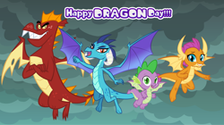 Size: 1280x719 | Tagged: safe, artist:andoanimalia, garble, princess ember, smolder, spike, dragon, cute, dragon day, dragon lands, dragoness, emberbetes, female, gardorable, male, sky, smolderbetes, spikabetes, winged spike