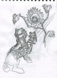 Size: 586x800   Tagged: safe, artist:adeptus-monitus, oc, earth pony, necromorph, dead space, flower, parody, plasma cutter, sunflower, traditional art