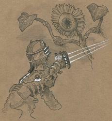 Size: 922x1000   Tagged: safe, artist:adeptus-monitus, oc, oc only, earth pony, necromorph, dead space, flower, parody, plasma cutter, sunflower, traditional art