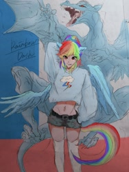 Size: 768x1024 | Tagged: safe, artist:raimugi____, rainbow dash, dragon, human, clothes, cool, digital art, humanized, pony ears, pullover, shorts, smiling, stockings, tail, thigh highs, winged humanization, wings