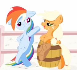 Size: 4096x3723   Tagged: safe, artist:j5ajj, applejack, rainbow dash, earth pony, pegasus, pony, appledash, barrel, bipedal, bipedal leaning, digital art, female, freckles, hoof hold, leaning, lesbian, shipping, teasing