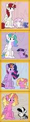 Size: 2250x9000 | Tagged: safe, artist:tjpones, luster dawn, princess celestia, princess luna, twilight sparkle, oc, oc:fausticorn, oc:matriarch zeg'us, alicorn, pony, unicorn, zebra, the last problem, alicornified, cewestia, circle of life, female, filly, lustercorn, lustie, princess twilight 2.0, sitting, squatpony, twiggie, twiggie 2.0, twilight sparkle (alicorn), woona, woonoggles, younger