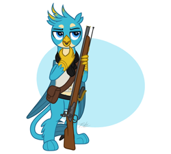 Size: 1872x1684 | Tagged: source needed, safe, artist:camo-pony, gallus, griffon, beak hold, bipedal, clothes, flintlock, gun, male, musket, pale belly, simple background, solo, standing, weapon