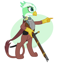 Size: 1700x1670 | Tagged: safe, artist:camo-pony, greta, griffon, armor, bipedal, breastplate, clothes, female, musket, scarf, simple background, solo, weapon