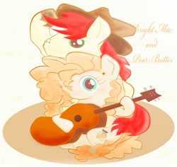 Size: 2000x1888 | Tagged: safe, artist:j5ajj, bright mac, pear butter, the perfect pear, applejack's hat, brightbutter, cowboy hat, digital art, female, guitar, hat, male, musical instrument, one eye closed, shipping, straight, wink