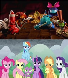 Size: 1920x2168 | Tagged: safe, edit, edited screencap, screencap, applejack, fluttershy, pinkie pie, rainbow dash, rarity, spike, twilight sparkle, alicorn, dragon, pony, the ending of the end, chef pepper jack, chompy mage, crossover, doom raiders, dr krankcase, dreamcatcher, golden queen, mane seven, mane six, skylanders trap team, the gulper, twilight sparkle (alicorn), winged spike, wolfgang