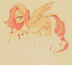 Size: 500x447 | Tagged: safe, artist:tigr, fluttershy, butterfly, pegasus, pony, chest fluff, colored pupils, ear fluff, female, leonine tail, mare, simple background, solo, tan background