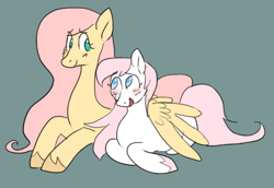Size: 670x461 | Tagged: safe, artist:greenarsonist, fluttershy, nurse redheart, fanfic:in quiet moments, blushing, cis, cis girl, female, flutterheart, hooves, lesbian, looking at each other, shipping, trans, trans girl, transgender, unshorn fetlocks, wings