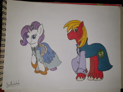 Size: 4032x3024 | Tagged: safe, artist:bigmackintosh, big macintosh, rarity, clothes, dress, female, male, mare, pencil drawing, rarimac, shipping, signature, stallion, straight, suit, traditional art