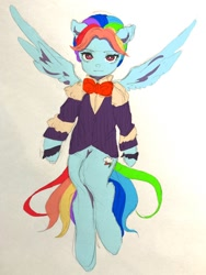 Size: 768x1024 | Tagged: safe, artist:raimugi____, rainbow dash, snowdash, anthro, pegasus, a hearth's warming tail, alternate hairstyle, clothes, solo, tail, wings