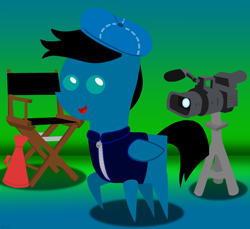 Size: 7200x6600 | Tagged: safe, artist:agkandphotomaker2000, oc, oc:pony video maker, pegasus, pony, camera, chair, clothes, director's chair, director's hat, jacket, looking at you, megaphone, pointy ponies, solo, tripod, video camera
