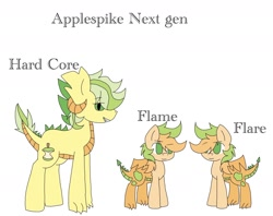 Size: 1534x1213 | Tagged: safe, artist:analyia09, oc, oc only, oc:flame, oc:flare, oc:hard core, dracony, hybrid, brother and sister, female, interspecies offspring, male, next generation, offspring, parent:applejack, parent:spike, parents:applespike, siblings, simple background, twins, white background