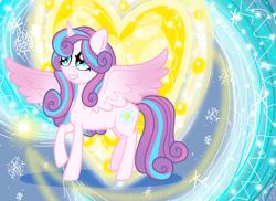 Size: 1100x800 | Tagged: safe, artist:katya, princess flurry heart, adult, future, glow, heart, magic, older, older flurry heart, snow, spell, storm