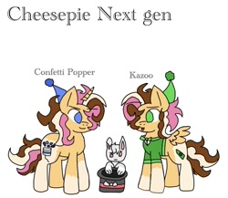 Size: 1009x874 | Tagged: safe, artist:analyia09, oc, oc:confetti popper, oc:kazoo, pegasus, pony, rabbit, unicorn, animal, brother and sister, female, hat, male, offspring, parent:cheese sandwich, parent:pinkie pie, parents:cheesepie, party hat, siblings, simple background, twins, white background