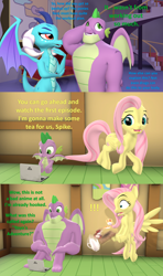 Size: 1920x3240 | Tagged: safe, artist:red4567, fluttershy, princess ember, spike, dragon, pegasus, pony, 3d, age progression, anime, comic, computer, cup, cutie mark, dialogue, dragon day, excessive exclamation marks, exclamation point, female, fluttershy's cottage, flying, folded wings, food, gigachad spike, horns, jojo's bizarre adventure, laptop computer, lidded eyes, looking away, male, mane, mare, maturity, older, older spike, open mouth, otakushy, plate, sfm pony, shocked, shrunken pupils, sitting, source filmmaker, spikes, tail, tea, teacup, teapot, tray, trotting, twilight's castle, unsure, watching, winged spike, wings