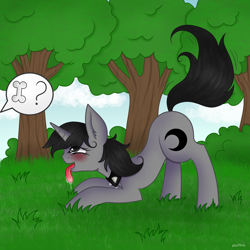 Size: 5000x5000 | Tagged: safe, artist:vaiola, oc, oc only, oc:howl, pony, unicorn, behaving like a dog, blushing, bubble, collar, commission, cute, drool, ear fluff, female, fetish, forest, grass, high res, horn, looking up, mare, open mouth, park, pet play, playful, playing, salivating, scenery, solo, spiked collar, tail wag, text, tongue out, tree