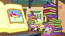Size: 1920x1080 | Tagged: safe, screencap, apple bloom, granny smith, winona, dog, earth pony, pony, ponyville confidential, baby, baby pony, book, butt, coppertone parody, diaper, female, filly, mare, photo, plot, puppy, sitting