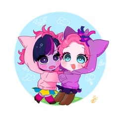 Size: 768x768 | Tagged: safe, artist:raimugi____, pinkie pie, twilight sparkle, blushing, boots, child, children, clothes, cute, female, hoodie, kid, lesbian, shipping, shoes, skirt, smiling, socks, twinkie, young, younger
