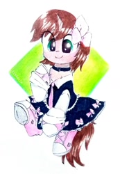 Size: 1280x1846 | Tagged: safe, artist:liaaqila, oc, oc only, oc:ryleigh, pony, unicorn, bow, clothes, collar, commission, converse, cute, dress, female, mare, necktie, ocbetes, shoes, simple background, sneakers, solo, traditional art