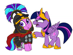 Size: 900x675 | Tagged: safe, artist:slamjam, starlight glimmer, twilight sparkle, alicorn, angery, cape, centurion, clothes, galea, helmet, historical roleplay starlight, roman, simple background, starlight is very amused, this will end in rebellion, this will end in revolution, trollight glimmer, twilight is not amused, twilight sparkle (alicorn), unamused, white background