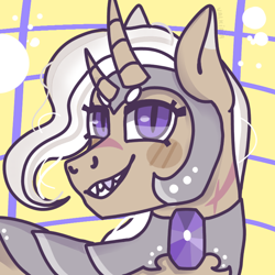 Size: 768x768 | Tagged: safe, artist:valkiria, oc, oc only, unicorn, armor, fangs, gem, jewelry, looking at you, scar, smiling at you, white mane