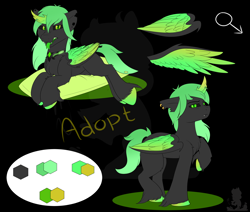Size: 2600x2200   Tagged: safe, artist:monsoonvisionz, oc, oc only, changeling, vampire, adoptable, auction, commission, green, green changeling, solo
