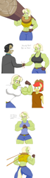 Size: 3248x11504 | Tagged: safe, artist:matchstickman, bright mac, filthy rich, granny smith, earth pony, anthro, abs, back muscles, biceps, breasts, busty granny smith, clothes, colt, dialogue, female, flexing, gloves, granny smash, jeans, log, looking at you, male, mare, muscles, muscular female, one eye closed, pants, shirt, simple background, stallion, talking to viewer, white background, wink, yoke, young granny smith, younger