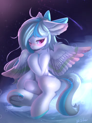 Size: 1200x1600 | Tagged: safe, artist:silver fox, derpibooru exclusive, oc, oc only, pegasus, pony, blushing, cloud, frog (hoof), on a cloud, one eye closed, pegasus oc, shooting star, sitting, solo, underhoof, wings, wink