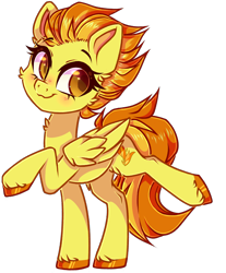 Size: 1630x1966 | Tagged: safe, artist:_spacemonkeyz_, spitfire, pegasus, cute, cutefire, female, mare, raised hoof, raised leg, simple background, solo, transparent background