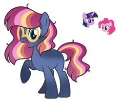 Size: 1024x858 | Tagged: safe, artist:sapphiretwinkle, pinkie pie, twilight sparkle, oc, alicorn, earth pony, female, glasses, magical lesbian spawn, mare, offspring, parent:pinkie pie, parent:twilight sparkle, parents:twinkie, simple background, transparent background, twilight sparkle (alicorn)