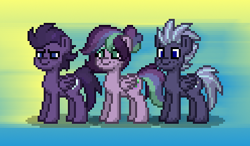 Size: 372x217 | Tagged: safe, edit, oc, oc only, oc:mistral remedy, oc:troubled skies, oc:violet maelstrom, pegasus, pony, pony town, family, paint.net, parent, picture for breezies, wonderbolts