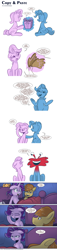 Size: 1608x7114 | Tagged: safe, artist:saturdaymorningproj, feather bangs, starlight glimmer, trixie, unicorn, annoyed, cardboard wings, comic, crack shipping, dream, fake wings, female, foster's home for imaginary friends, gift wrapped, implied lesbian, implied shipping, implied startrix, magic, male, nightmare, shipping, sleeping, straight, telekinesis, wilt (foster's home for imaginary friends)