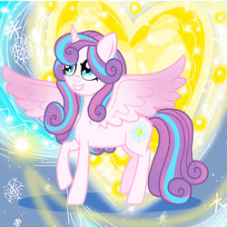 Size: 800x800 | Tagged: safe, artist:katya, princess flurry heart, alicorn, pony, abstract background, adult, female, glow, heart, magic, older, snow, solo, spell, wings