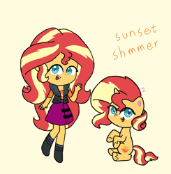 Size: 1080x1104 | Tagged: safe, artist:pink flame, sunset shimmer, pony, unicorn, equestria girls, my little pony: pony life, clothes, cute, dress, female, happy, human ponidox, mare, misspelling, self ponidox, shimmerbetes, simple background, vest, waving, yellow background
