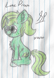 Size: 1524x2176 | Tagged: safe, artist:mlplayer dudez, oc, oc only, oc:lime dream, pony, unicorn, chest fluff, colored, ear fluff, female, fluffy, glasses, happy, leg fluff, mare, request, signature, sitting, smiling, solo, traditional art