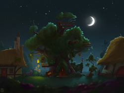 Size: 2000x1500 | Tagged: safe, artist:minibot-1, color edit, edit, beautiful, building, color correction, colored, crescent moon, dark, door, fence, flower, golden oaks library, house, houses, lantern, library, light, moon, night, no pony, ponyville, scenery, scenery porn, stars, sunflower, telescope, tree, wallpaper