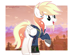 Size: 1600x1220 | Tagged: safe, artist:rerorir, oc, oc only, pegasus, pony, fallout equestria, clothes, female, mare, oc needed, pipbuck, solo, vault suit