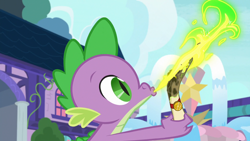 Size: 1920x1080 | Tagged: safe, screencap, spike, dragon mail, fire, green fire, letter, opening, school of friendship, scroll, solo